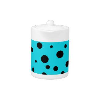 Turquoise with Black Polka Dots Fashion Fun Teapot
