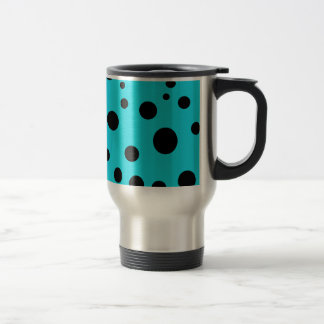 Turquoise with Black Polka Dots Fashion Fun Travel Mug