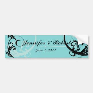 Turquoise with Black Swirl Flourish Embellishment Car Bumper Sticker
