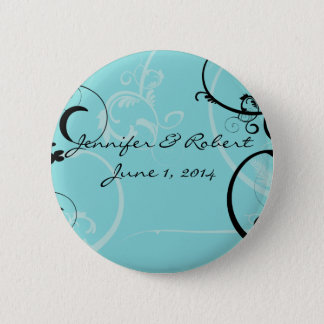 Turquoise with Black Swirl Flourish Embellishment Button