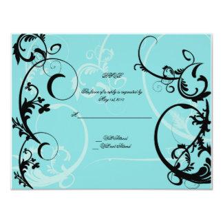 Turquoise with Black Swirl Flourish Embellishment Card