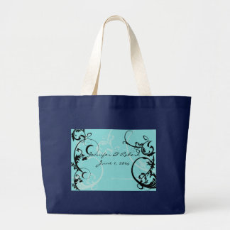 Turquoise with Black Swirl Flourish Embellishment Large Tote Bag