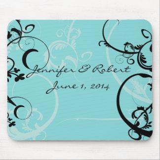 Turquoise with Black Swirl Flourish Embellishment Mouse Pad