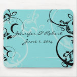 Turquoise with Black Swirl Flourish Embellishment Mouse Pads