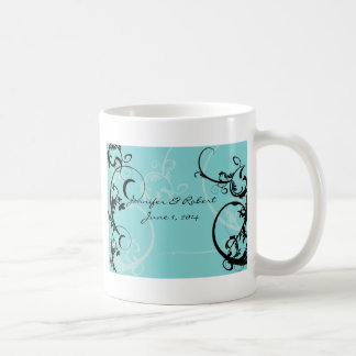 Turquoise with Black Swirl Flourish Embellishment Coffee Mugs