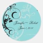 Turquoise with Black Swirl Flourish Embellishment Round Stickers