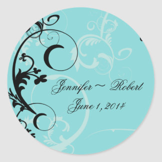 Turquoise with Black Swirl Flourish Embellishment Classic Round Sticker