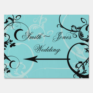 Turquoise with Black Swirl Wedding Direction Sign