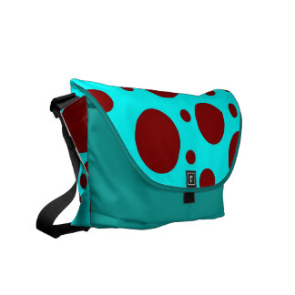 Turquoise with Brown Polka Dots Courier Bag