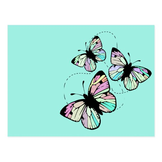 Turquoise with Butterflies Postcard