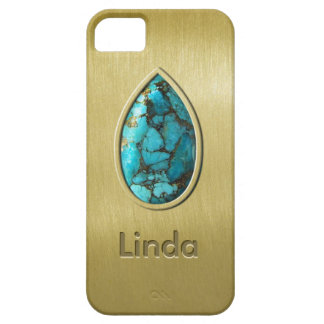 Turquoise with Gold Bezel iPhone 5 Cover