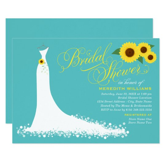 Turquoise with Yellow Sunflowers Bridal Shower Invitation