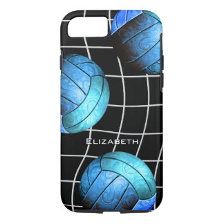 turquoise women's volleyball with vball net iPhone 7 case
