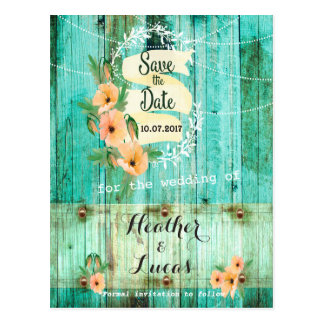 Turquoise Wood and Peach Poppies Save the Dates Postcard