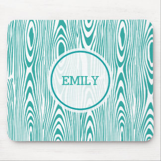 Turquoise Wood Grain Mouse Pad