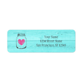 Turquoise wood mason jar return address labels