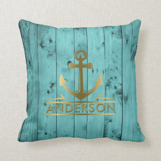 Turquoise Wood Rustic Weathered Teal Gold Nautical Throw Pillow
