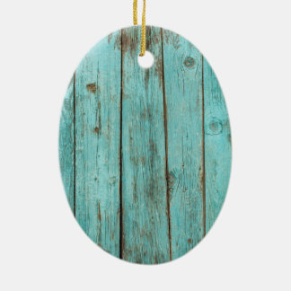 Turquoise Wood Teal Barn Wood Weathered Beach Ceramic Ornament