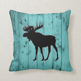 Turquoise Wood Teal Weathered Barn | Rustic Moose Throw Pillow