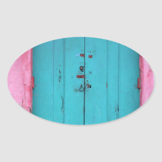 Turquoise wooden doorway oval sticker