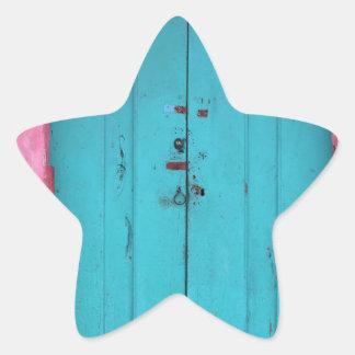 Turquoise wooden doorway star sticker