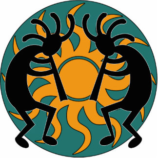 Turquoise Yellow Black Tribal  Southwest Kokopelli Cutout