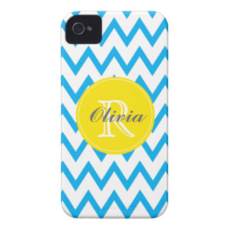 Turquoise Yellow Chevron Monogrammed iPhone 4 4s iPhone 4 Cover
