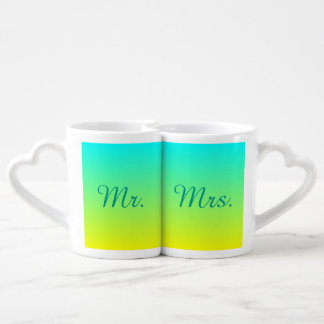 turquoise yellow green ombre mr and mrs coffee mug set