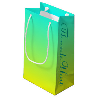 turquoise yellow green ombre wedding favor small gift bag