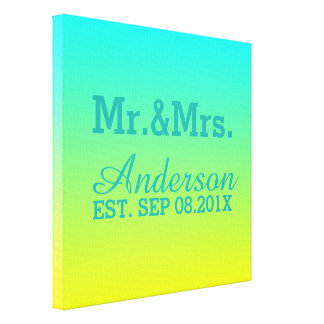 turquoise yellow green ombre wedding mr and mrs canvas print