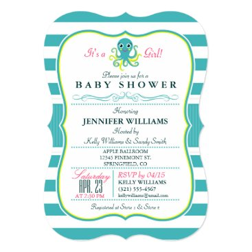 Toddler & Baby themed Turquoise & Yellow Octopus Baby Shower Invitation