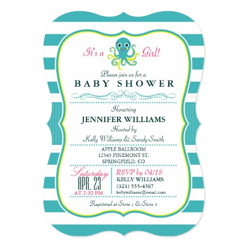 turquoise yellow octopus baby shower invitation 5 quot x 7