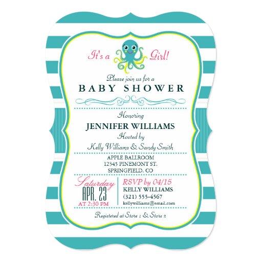 turquoise yellow octopus baby shower invitation 5 x 7 invit