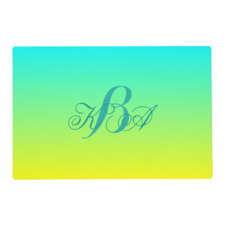 turquoise yellow ombre monograms bridesmaid gift placemat