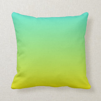 Turquoise Yellow Ombre Throw Pillow