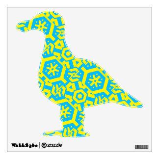 Turquoise Yellow Pattern Bird Seagull 4Hedda Wall Sticker