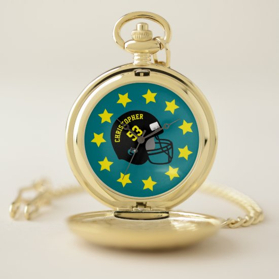 Turquoise Yellow Personalized Name Sports Helmet Pocket Watch