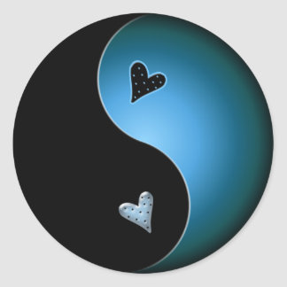 turquoise yin yang classic round sticker