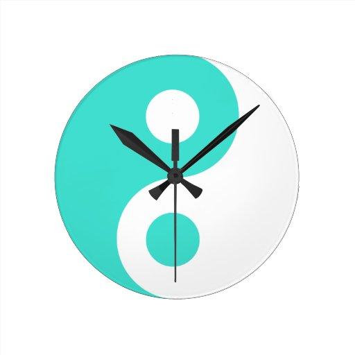 Turquoise Yin Yang Symbol Round Clock