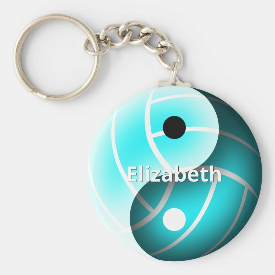 turquoise yin yang volleyball personalized keychain