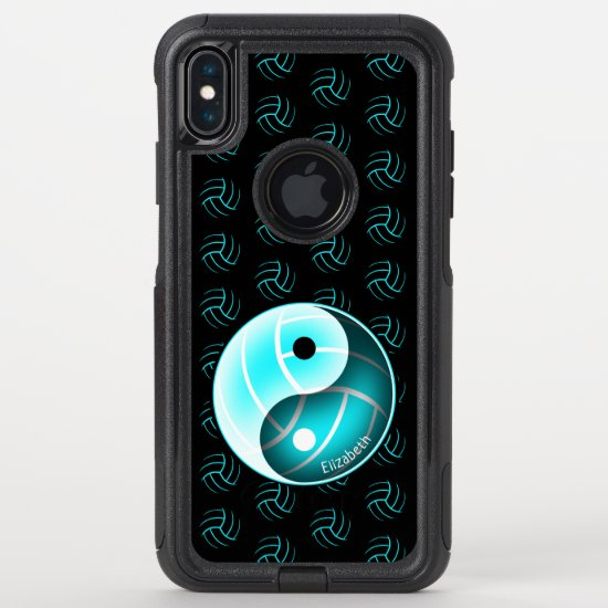 turquoise yin yang w minimal volleyballs pattern OtterBox commuter iPhone XS max case