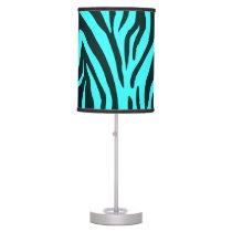 Turquoise zebra animal print pattern table lamp