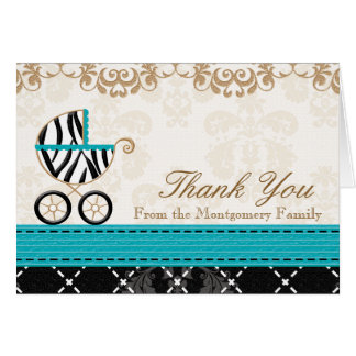 Turquoise Zebra Baby Carriage Shower Thank You Greeting Cards
