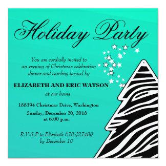 Turquoise zebra Christmas Tree Card