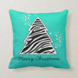 Turquoise zebra Christmas Tree Pillows