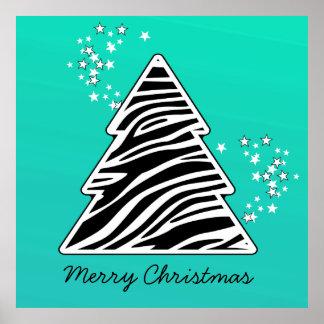 Turquoise Zebra Christmas Tree Poster