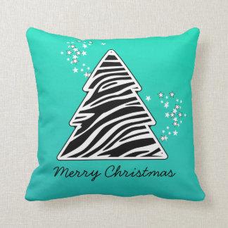 Turquoise zebra Christmas Tree Throw Pillow