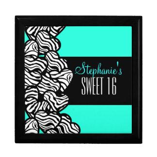 Turquoise zebra heart Sweet 16 Birthday Box
