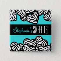 Turquoise zebra heart Sweet 16 Birthday Button