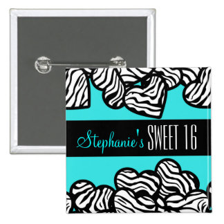 Turquoise zebra heart Sweet 16 Birthday Button